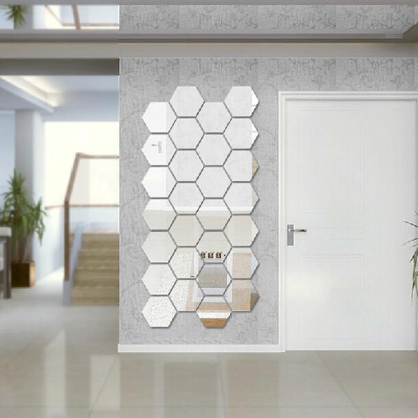 moderno unids d espejo hexagonal de acrlico saln dormitorio pared etiqueta engomada