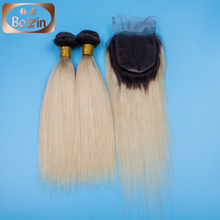 Top Quality Peruvian Virgin Hair 613 Color Weave Human Hair Straight Blonde Hair Bundles With Lace Closure