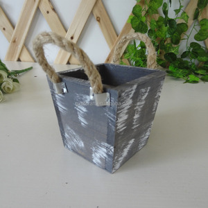 powder coated wooden home&garden planter with sisal rope