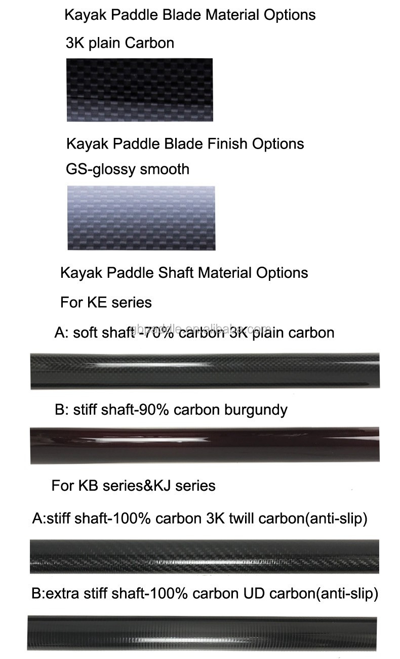 adjustable 3k glossy surface finish carbon fiber kayak paddle