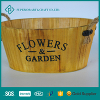 2017 Wholesale Competitive Price Wooden Barrel Flower Pot Garden