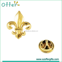 3D Golden Fleur De Lis Metal Lapel Pin Badge