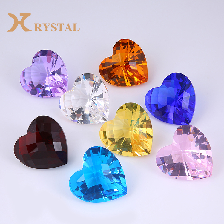Wholesale China Trade Custom Polished Red Heart Shape Crystal Diamond