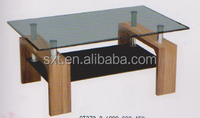 2015 modern high quality wooden center table design with glass top