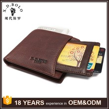 Customized Slim Smart Top Grain Cow Leather Wallet for Men