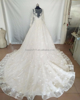 muslim wedding dress long sleeve lace wedding dress luxurious trailing bridal gowns