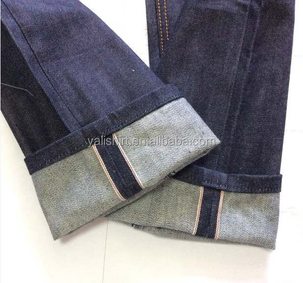 Custom Wholesale High Quality Cotton Unwash Original Raw Mens Fashion Selvedge Denim