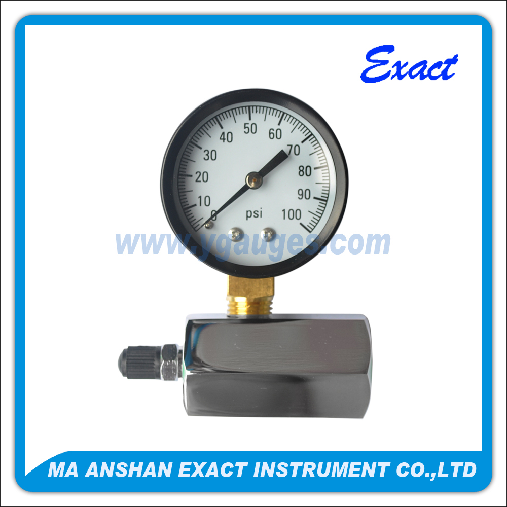 Air testing gauge with chromed mount that special bourdon tube for air test