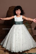 NEW ARRIVAL ! 2014 new fashion long embroidery children green wedding dress