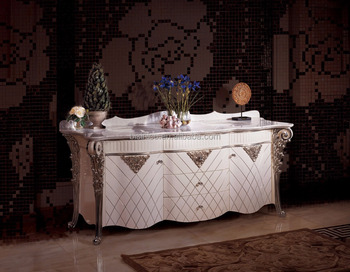 Rome Style White Color Hand Carving Bathroom Vanity, European Classical Vanitory Washing Cabinet with Double Sinks