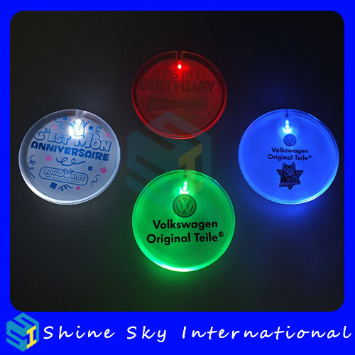 Factory Customized Design Badge Company Logo PS Round Led Badge With Colorful LED Lights