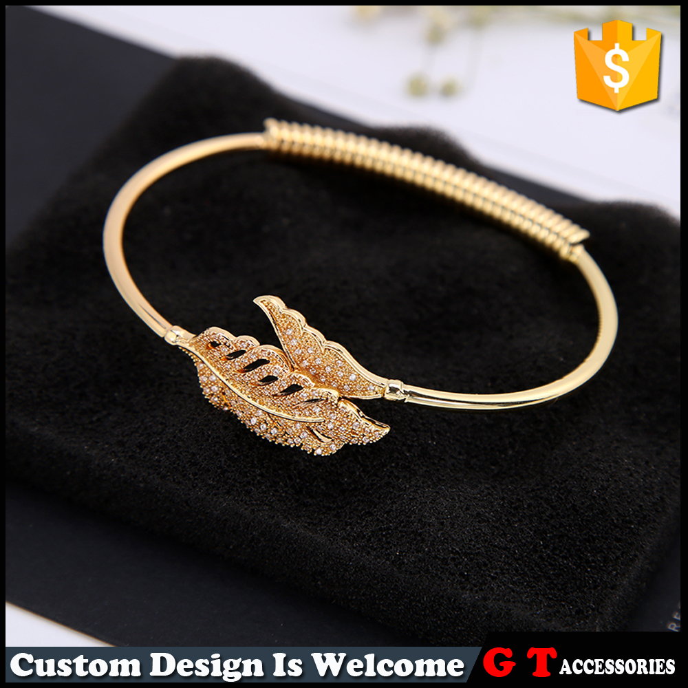 New Style Women Gold Leaf Bangle With Rhinestone, Spring Bangle