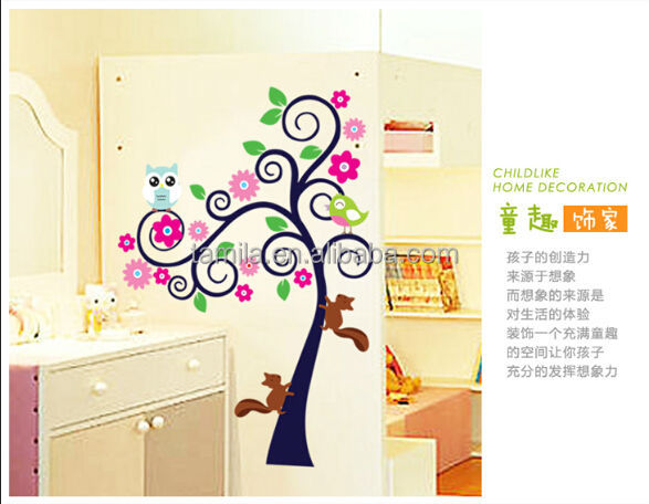 New Owl Squirrel Tree Branch Cartoon Owl Tree Wall Sticker