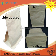 Block bottom valve kraft paper bag for powder/ square bottom stand up paper coffee pouch