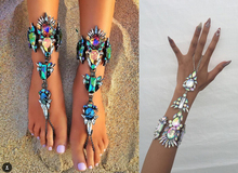 Dvacaman latested design girls barefoot sandals fashion hand chain jewelri colorful anklet with toe ring F01
