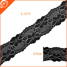 newly pattern 6.5cm black spandex trim lace for dress
