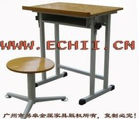 Durable old metal school desk and chair