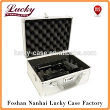 Aluminum Framed Locking Gun Pistol Case Handgun Lock Box Hard Storage Carry Case