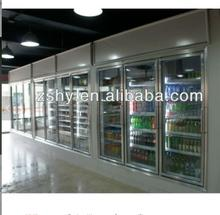 Polyurethane insulated glass door cold room for supermarket