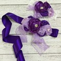 Purple Burgundy Flower Baby Sash Matching Headband Sets With Sparkly Rhinestone Luxe Sash Belt For Wedding
