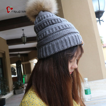 Fashion Knitted Beanie Grey Real Fur Pom Pom Winter Hat