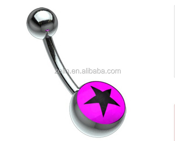 Titanium Magenta and Black Star Navel Ring Belly jewlery Belly piercing Jewelry