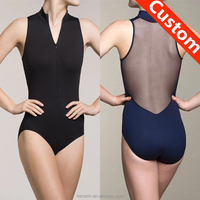 hot sale front zip mock neck mesh back dance leotard ballet gymnastics leotards