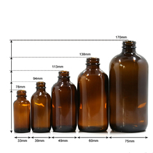 Customized 1oz 2oz 4oz 8oz 16oz Amber Boston Round Glass Essential oil bottle With Different Cap