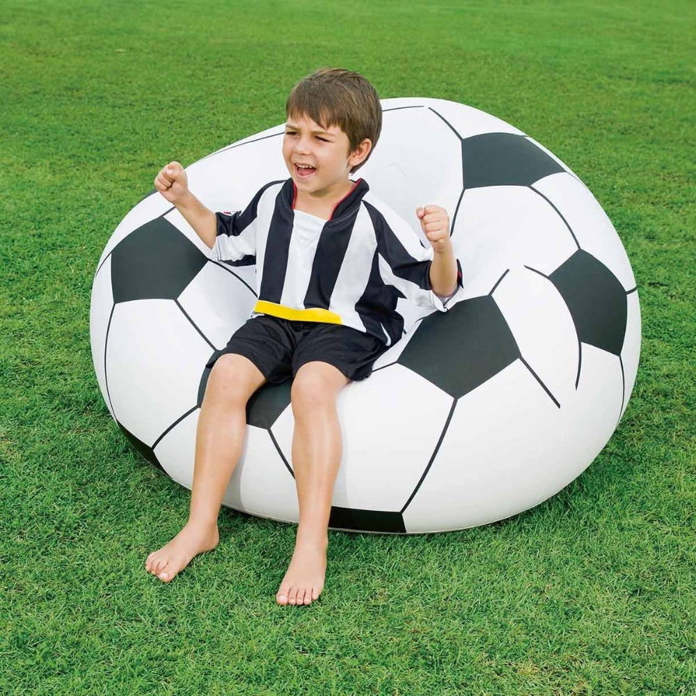 Bestway lazy inflatable football shape kiddie chair soft kids soccer ball sofa chair