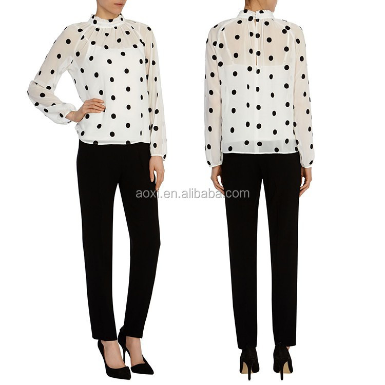 Top selling garments latest design dot print office wear womens blouses 2016