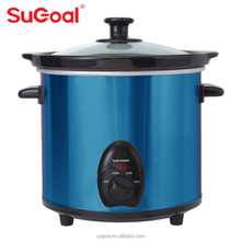 New Round Shape 3.0L Mini Electric Slow Cooker With Tempered Glass Lid