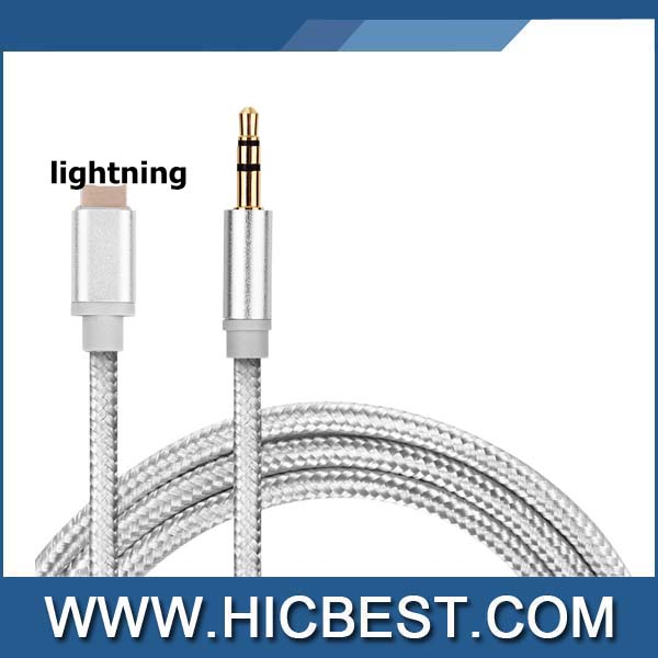 3.5mm Male to Male Aux Stereo Audio Lightningg Cable for iPhone 7 / 7 Plus to Headphone, Speaker and Car Aux, 3 Feet (1 Meter)