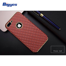 Electroplating litchi TPU cell phone case for iPhone 7 imitation leather printing phone case