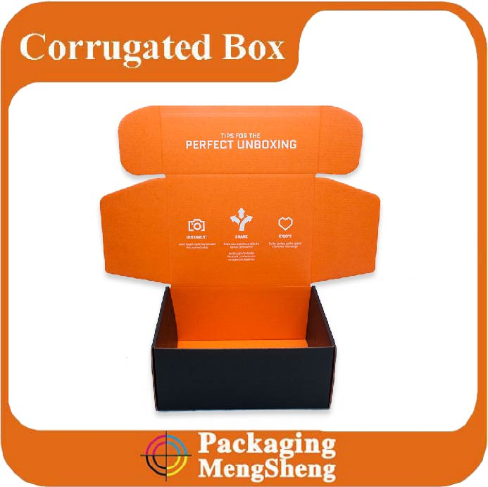 Corrugated printed nice design flat pack black shipping box for haircare products