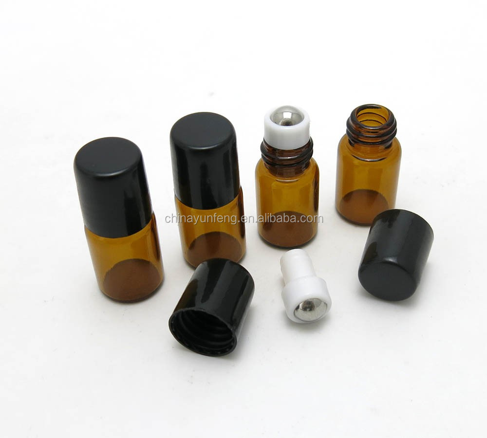 Beauty 2ml glass roll on perfume bottle with stainless steel roller ball for sample promotion