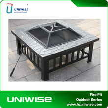 Square Outdoor Backyard Patio Metal Firepit/ Garden Treasures Fire Pits