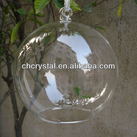 hanging glass globe with opening bottom ,clear glass globe