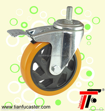 Manufacturer 3/4/5inch screw PU swivel caster,plastic caster