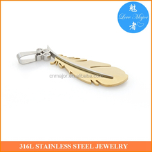 gold color classical rhinstone stainless steel feather pendant for women