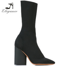 New Women Black Pointed Toe Chunky Heel Knitted Ankle Sock Boots