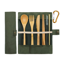 7pcs/<strong>set</strong> ECO Friendly Camping Travel Portable Reusable Natural Organic Bamboo Utensils Flatware <strong>Cutlery</strong> <strong>Set</strong> With Bag