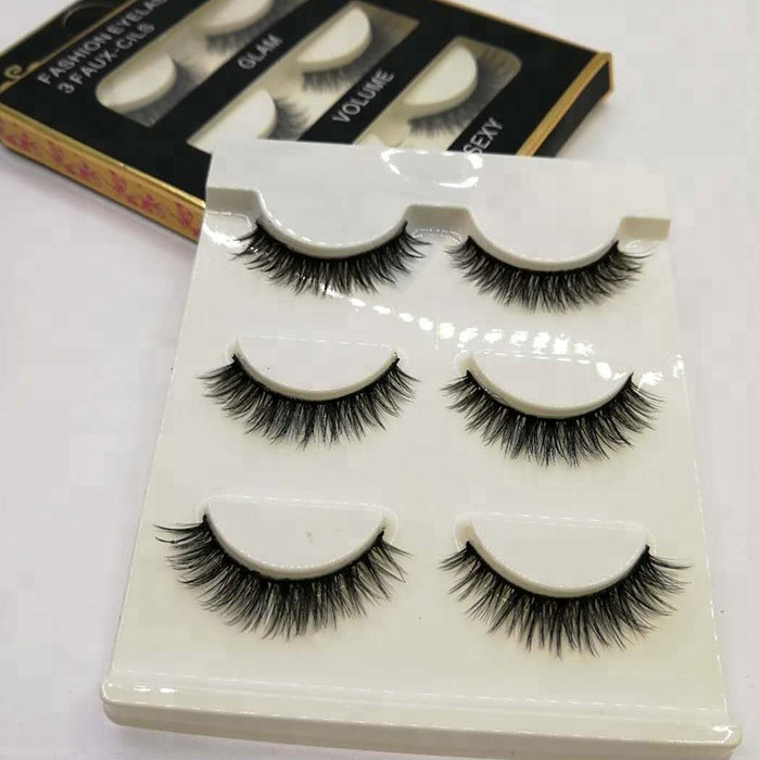 Hot sale high quality 3d silk synthetic eyelashes natural 3 pairs synthetic eyelashes