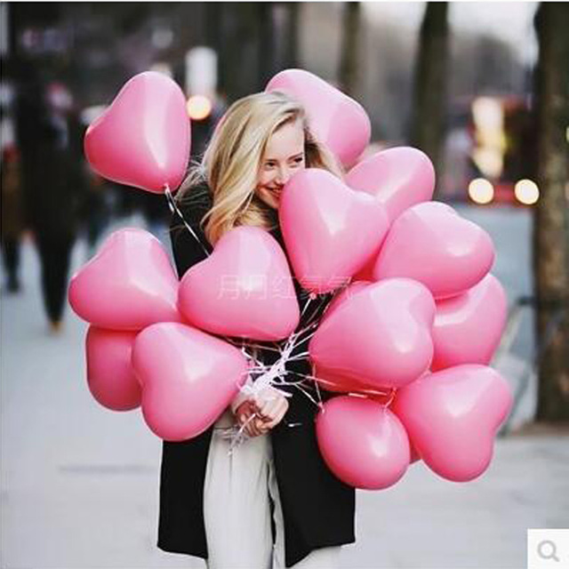 10pcs/lot Romantic 12 Inches 2.2g pink Heart Love Latex Balloons Wedding Birthday Party Valentines Day For Decoration