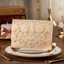 Wishmade Wedding Invitation Card with Embossed Flower Love Theme Laser Cut Paper Crafts CW072