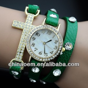 2015 New arrival gold plated rhinestone leather cross combination punk style woman fashion watches women Rhinestone leathe watch
