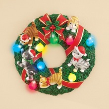 wholesale resin christmas color changing LED light wall hanging Holiday cat Wreath Sculpted Lighted Wall Decoration