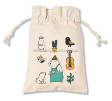 High quality custom fancy cotton promotion gift pouch drawstring cotton bag
