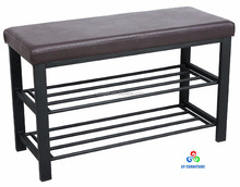 Entryway 2 tier faux Leather top metal shoe rack oraganizer bench supplier