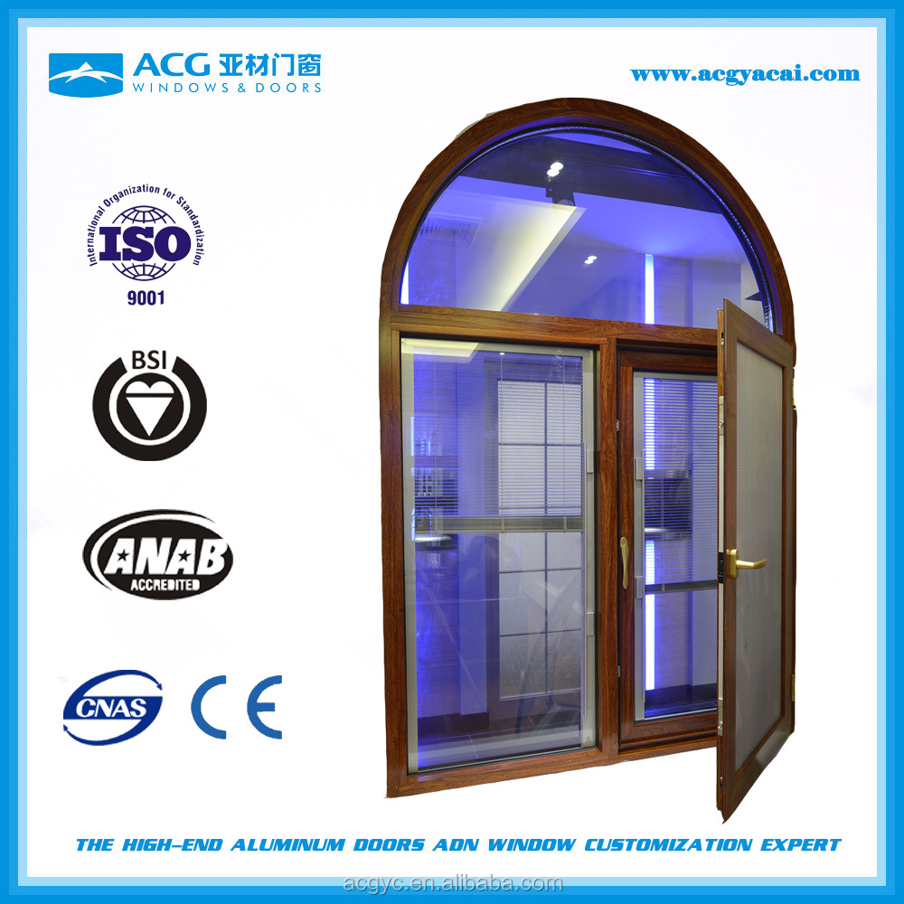 Thermal break golden oak aluminum glass window
