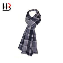 Top quality autumn and winter warm double sided unbrushed plaid wool scarf